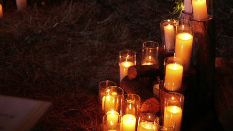 Decoration of the candles in glasses Footage