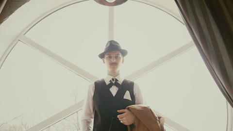 man with a mustache and a waistcoat Footage