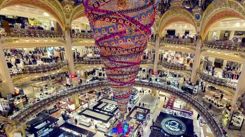 Paris, France - Timelapse - Galeries Lafayette ビデオ