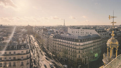 Paris, France - Timelapse - Paris from the Galeries Lafayette Footage