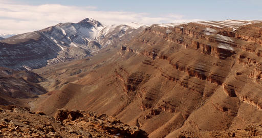 Epic View On Snowy Mountain Range, Morocco Footage
