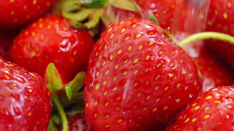 Washing Strawberries With Water Footage