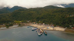 Sea passenger ferry port aerial view .Camiguin island, Philippines Footage