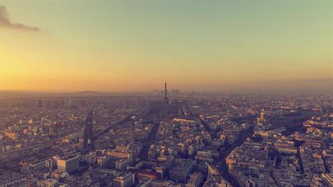 Paris, France - Timelapse - Panoramic view of Paris Day to Night Footage