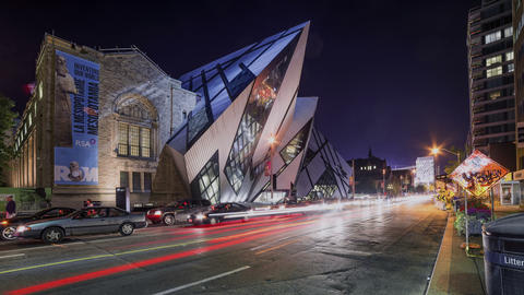 Toronto, Canada - Timelapse - The Royal Ontario Museum at night Footage