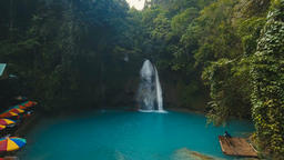Beautiful tropical waterfall. Kawasan Falls. Philippines Cebu island Footage