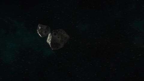 Asteroids Travelling Through Space Animation