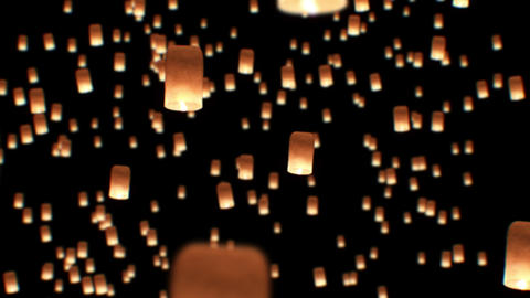 Floating Lanterns in Yee Peng Festival. Loy Krathong Celebration in Chiangmai, T Animation
