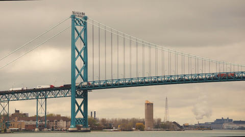 Ambassador Bridge Carries Traffic Across Detroit River United States Canada Footage
