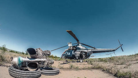 Timelapse Repair of Agriculture Helicopter. Engineers are changind the engine Footage