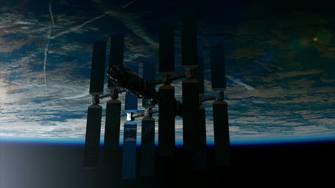 ISS. International Space Station Orbiting Earth Footage