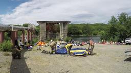 Packaging rafts after rafting on river for subsequent transport Footage