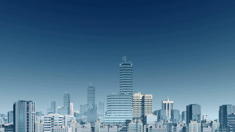 Abstract city skyline skyscrapers panorama Animation