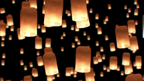 Beautiful Looped 3d animation of Floating Lanterns in Yee Peng Festival. Seamles Animation