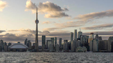 Toronto, Canada - Timelapse - Zoom on the Skyline from Center Island Footage
