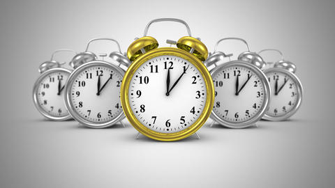 Five Alarm Clocks Move Forward Animation