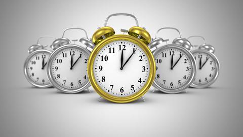 Five Alarm Clocks Move Forward Animation
