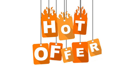 hot offer video with orange flat tag Animation