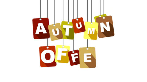 autumn offer video with flat tag Animation