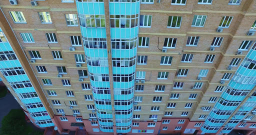 Architecture, Streets and apartments aerial in Moscow Footage