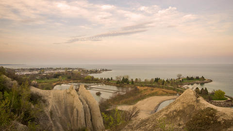 Scarborough Bluffs Park, Canada - Timelapse - Panoramic view over the shore Footage