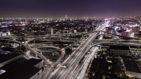 Motorway junction night view (Osaka Japan) GIF