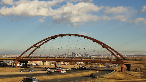 Denver Skyline Transit Train Bridge Colorado Landscape Highway ビデオ
