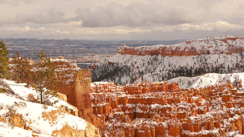 Fresh Snow Blankets Bryce Canyon Rock Formations Utah USA Footage