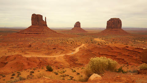 Car Travels Through Monument Valley Navajo Nation Tribal Park Footage