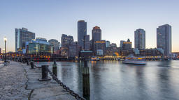 Boston , USA - Timelapse - The Skyline during the blue hour Footage
