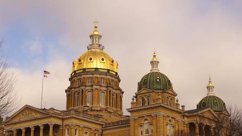 Des Moines Iowa Capital Building Government Dome Architecture Footage