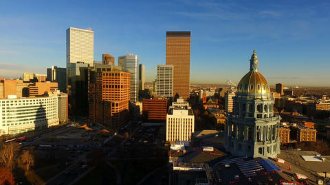 Denver Colorado Downtown City Skyline Capital Building Government Dome Architect Footage