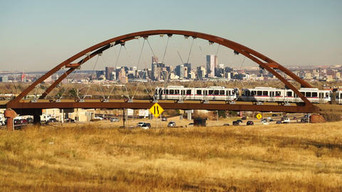 Denver Skyline Transit Train Bridge Colorado Landscape Highway Footage