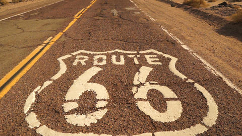 Rural Route 66 Two Lane Historic Highway Cracked Asphalt Live Action