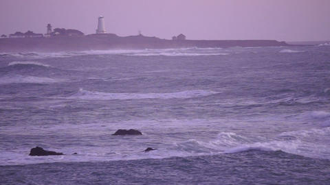 Storm Rolling in at Dawn California Pacific Ocean Coast Lighthouse Footage