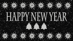 Black and white decorative video with text Happy New Year and Christmas bells in Animation