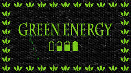 Green and black decorative video with text Green Energy... Stock Video Footage