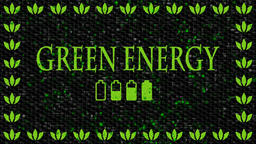 Green and black decorative video with text Green Energy and battery icons Animation