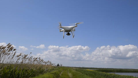 Flight quadrocopters low from the ground in strong winds. Wind resistance of Footage