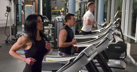 Group of fitness peoples training in gym 4k video. Beautiful woman treadmill Footage