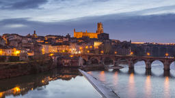 Albi, France - Timelapse - Albi during the Blue Hour Footage