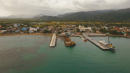 Cargo and passenger transit port aerial view .Catanduanes island, Philippines Footage