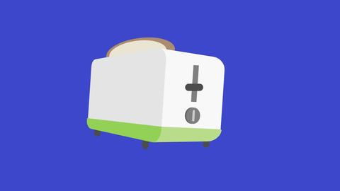 Toaster Animation with Pop Up Slices on Blue Screen: Matte + Looping CG動画素材