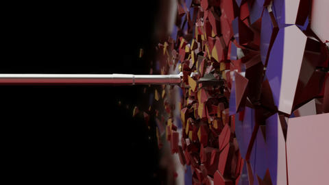 Slow Motion shot of an arrow crushing the target Animation