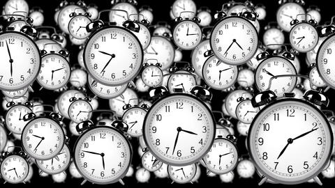 many old fashioned clocks flying in time lapse in 3D space Animation