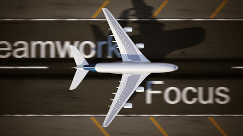 Concept of success. Airplane on the runway Animation