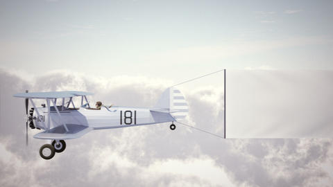 Biplane with Banner Biplane with Blank Banner Footage