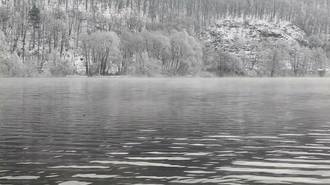 Misty winter morning on Vltava river Footage