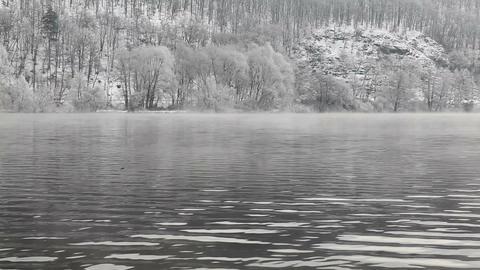 Misty winter morning on Vltava river Footage