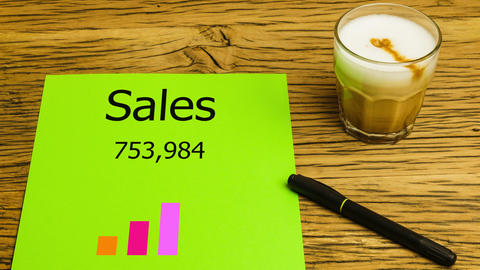 Sales chart animating on desk Animation